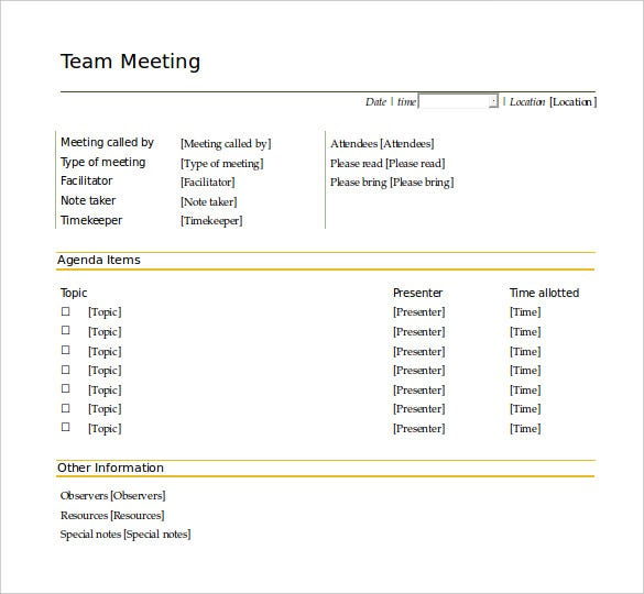 business meeting agenda sample email