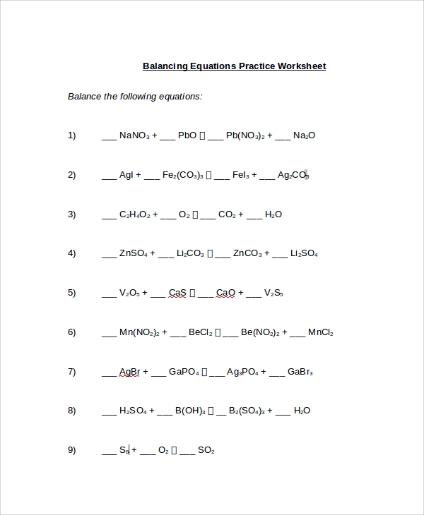 Balancing chemical equations worksheet pdf
