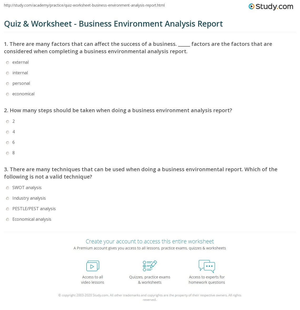 business environment analysis report pdf
