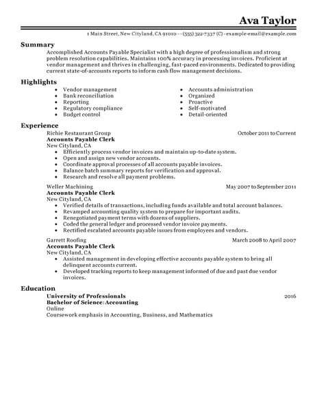 accounts payable cv sample