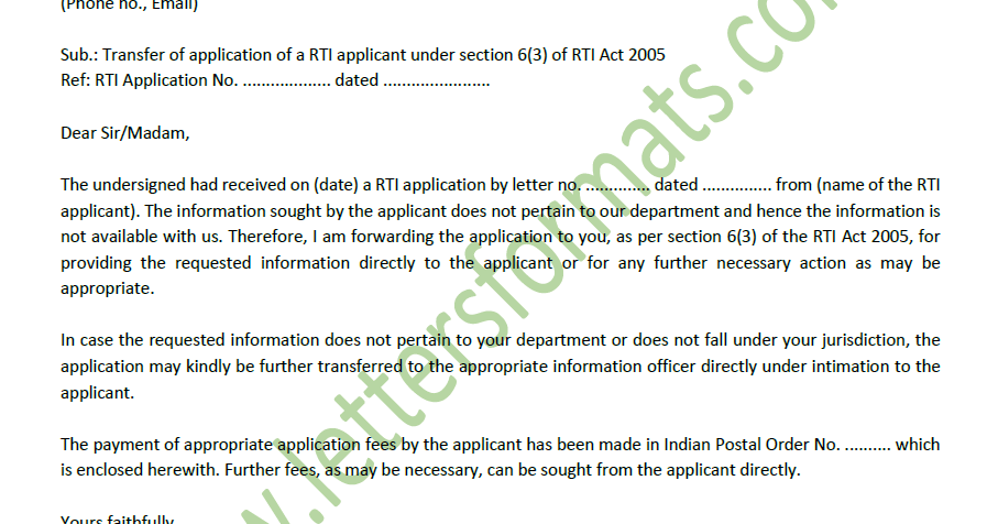 application under rti act 2005