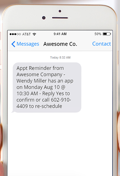 appointment confirmation text message sample