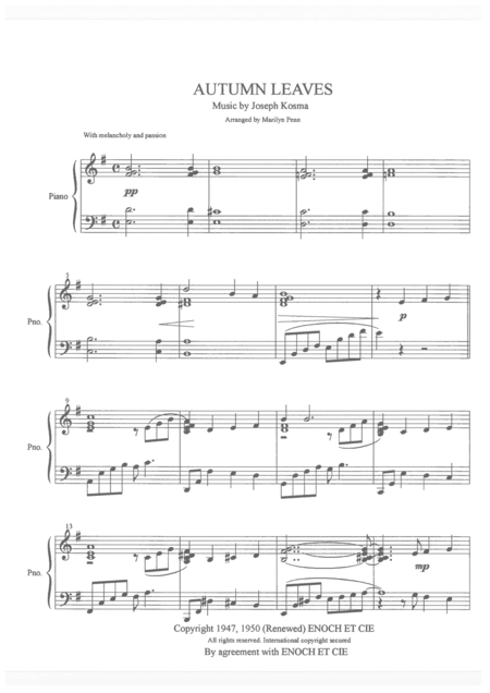 autumn leaves piano sheet music free pdf