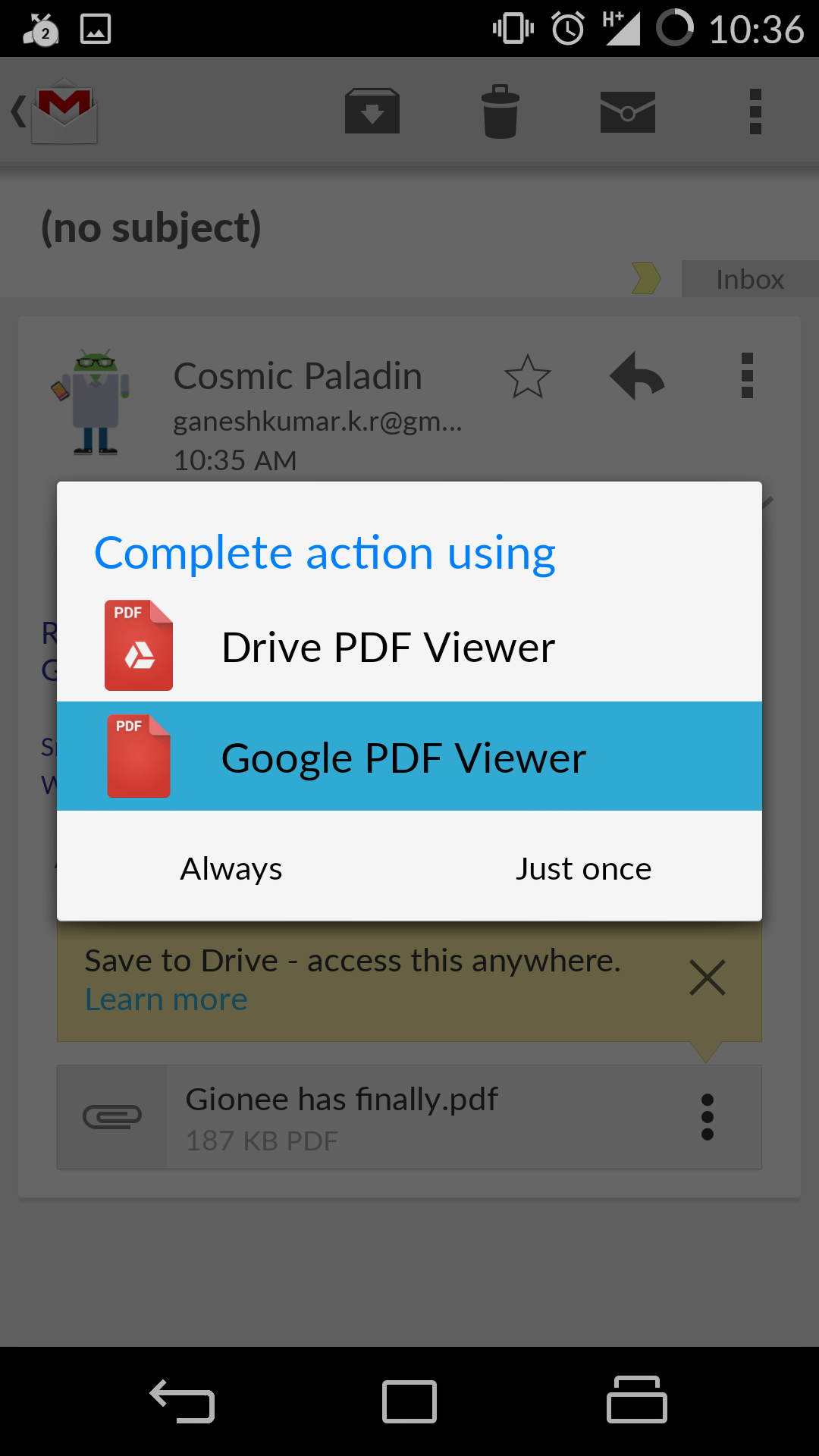 default pdf viewer android